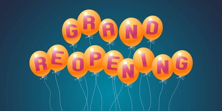 Grand opening or re-opening vector illustration, background for new store, etc with balloons Illustration