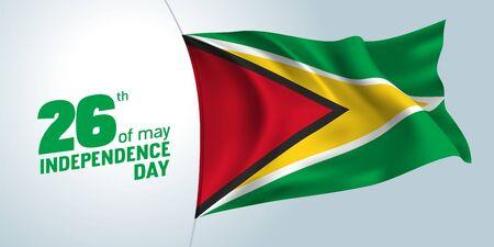 Guyana independence day greeting card, banner, vector illustration Ilustração