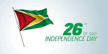 Guyana independence day greeting card, banner, horizontal illustration
