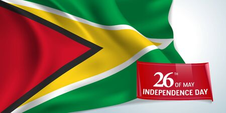 Guyana independence day greeting card, banner illustration
