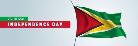 Guyana happy independence day banner, horizontal greeting card