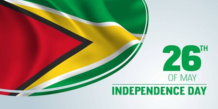 Guyana independence day banner, greeting card.