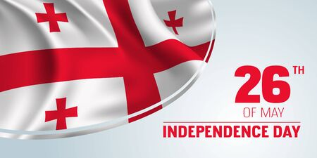 Georgia independence day banner, greeting card. Ilustração