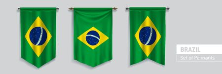Set of Brazil waving pennants on isolated background vector illustration Illustration