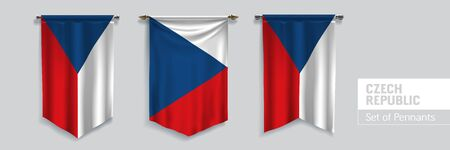 Set of Czech republic waving pennants on isolated background vector illustration