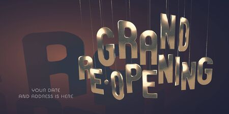 Grand opening or re-opening vector illustration, banner.