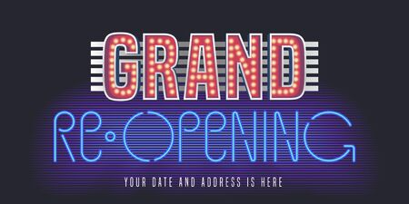 Grand opening or reopening vector banner, poster, illustration, flyer, invitation