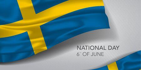 Sweden happy national day greeting card, banner, horizontal vector illustration Ilustração