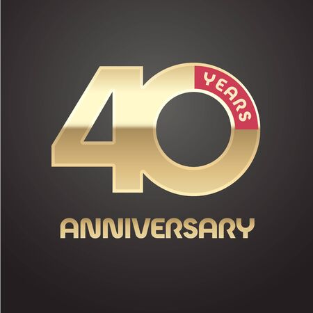 40 years anniversary vector icon. Graphic symbol with golden number