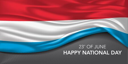 Luxembourg national day greeting card, banner with template text vector illustration