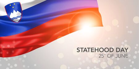 Slovenia happy statehood day vector banner, greeting card