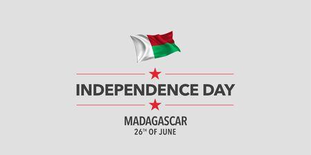 Madagascar independence day greeting card, banner, vector illustration