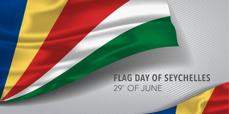 Seychelles happy flag day greeting card, banner with template text vector illustration