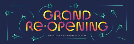 Grand opening or re opening vector banner, illustration.