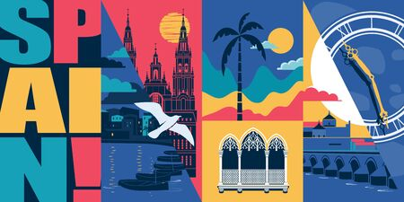 Spain vector skyline illustration, postcard. Travel to Spain modern flat graphic design element with Spanish landmarks - Cordoba bridge, Santiago de Compostela cathedral, beach, city views
