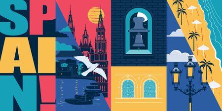 Spain vector skyline illustration, postcard. Travel concept in modern flat graphic design element with Spanish landmarks - Alhambra in Granada, beach, Santiago de Compostela cathedral
