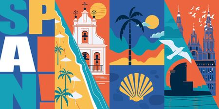 Spain vector skyline illustration, postcard. Travel to Spain modern flat graphic design banner with Spanish landmarks - Santiago de Compostela cathedral, beach