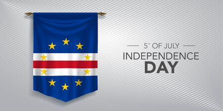 Cape Verde independence day greeting card, banner, vector illustration