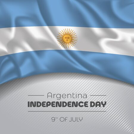 Argentina happy independence day greeting card, banner vector illustration. Argentinean national holiday 9th of July square design element with waving flag Ilustracje wektorowe