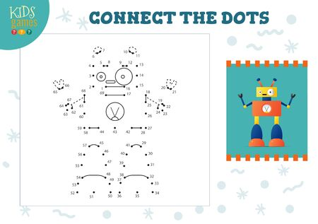 Connect the dots kids mini game vector illustration. Illustration