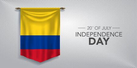 Colombia independence day greeting card, banner, vector illustration. Colombian national day 20th of July background with pennant Illusztráció