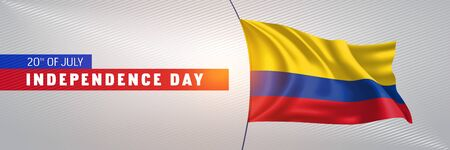 Colombia happy independence day greeting card, banner vector illustration. Colombian national holiday 20th of July design element with 3D waving flag on flagpole
