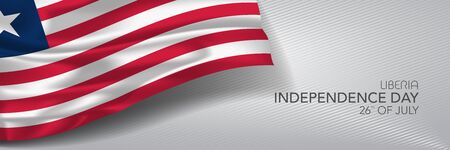Liberia independence day vector banner, greeting card.