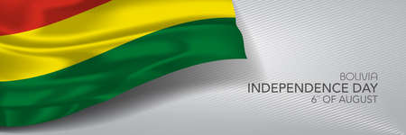 Bolivia independence day vector banner, greeting card.