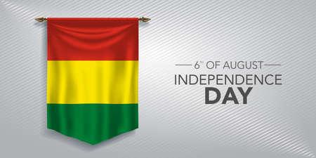 Bolivia independence day greeting card, banner, vector illustration 矢量图像