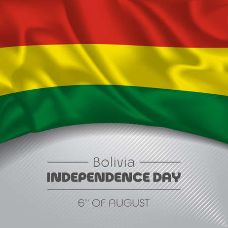 Bolivia happy independence day greeting card, banner vector illustration
