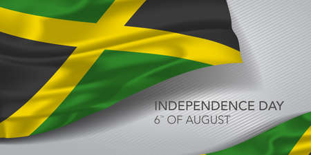 Jamaica happy independence day greeting card, banner with template text vector illustration. Jamaican memorial holiday 6th of August design element with realistic flag with cross Ilustração