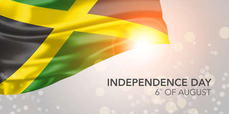 Jamaica happy independence day vector banner, greeting card. Jamaican realistic wavy flag in 6th of August national patriotic holiday horizontal design Ilustração