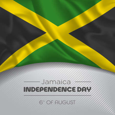 Jamaica happy independence day greeting card, banner vector illustration. Jamaican national holiday 6th of August square design element with waving flag