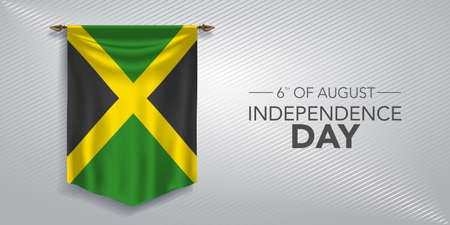 Jamaica independence day greeting card, banner, vector illustration. Jamaican national day 6th of August background with pennant Ilustração