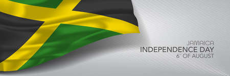 Jamaica independence day vector banner, greeting card. Jamaican wavy flag in 6th of August national patriotic holiday horizontal design