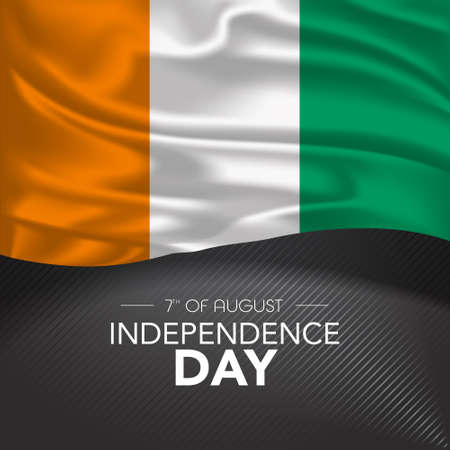 Ivory Coast happy independence day greeting card, banner, vector illustration. C te d'Ivoire memorial holiday 7th of August design element with realistic flag with stripes, square format