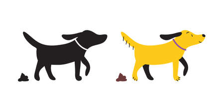 Set of dog pooping and its poo vector icons, pictograms.