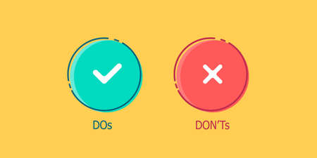 Do and Dont check tick mark and red cross vector isolated icons
