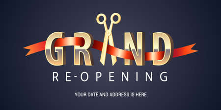 Grand opening or re opening soon vector banner, illustration Vettoriali