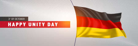Germany happy unity day greeting card, banner illustration