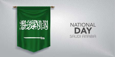 Saudi Arabia national day greeting card, banner, vector illustration