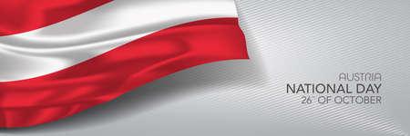 Austria national day vector banner, greeting card. Ilustração
