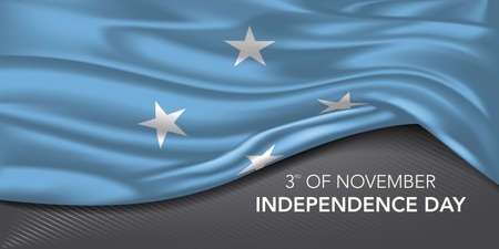 Micronesia happy independence day greeting card, banner with template text vector illustration