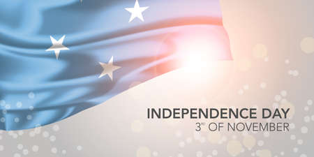 Micronesia happy independence day vector banner, greeting card Иллюстрация