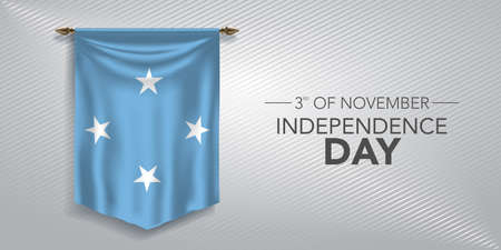 Micronesia independence day greeting card, banner, vector illustration