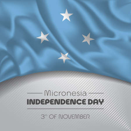 Micronesia happy independence day greeting card, banner vector illustration