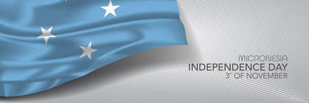 Micronesia independence day vector banner, greeting card Иллюстрация