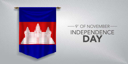 Cambodia independence day greeting card, banner, vector illustration Çizim