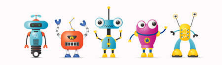 Set of cute vector robot characters for kids. Robotics and artificial intelligence