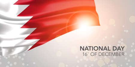 Bahrain happy national day vector banner, greeting card.